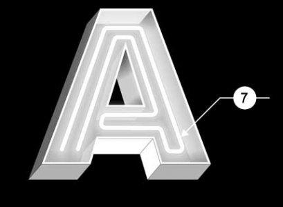 Открытая объемная буква с неоновой подсветкой.