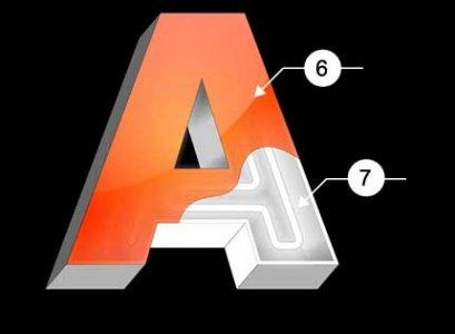 Закрытая объемная буква с неоновой подсветкой, с лицевой поверхностью из акрилового стекла.