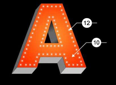 Объемная буква с внешней подсветкой точечными светодиодами.